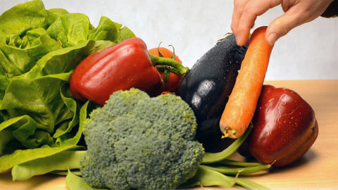Vegetables on Display Over White Background GIF