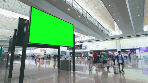 Billboard in Airport with Green Screen Footage