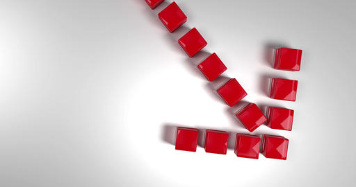 Red arrow pointing down and made up of cubes falling from above Animation