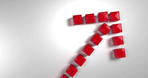 Red arrow composed of cubes falling from above. Symbol of a rise. 3d rendering Animation