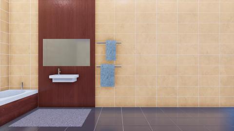 Empty copy space beige tiles wall in modern bathroom interior Footage