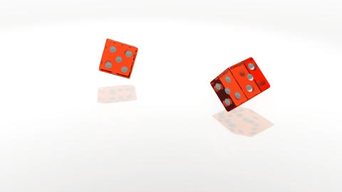 Red transparent cubes falling on the white mirror table of the casino in slow Footage