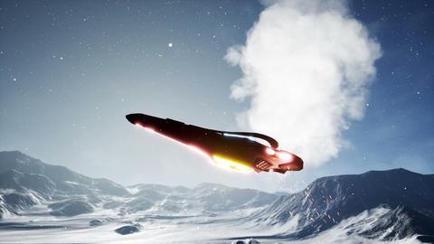 A spaceship in distress lands on a foreign planet. A futuristic concept of a UFO Animación