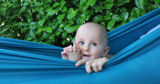 Cute Baby Boy Relaxing In Hammock Footage