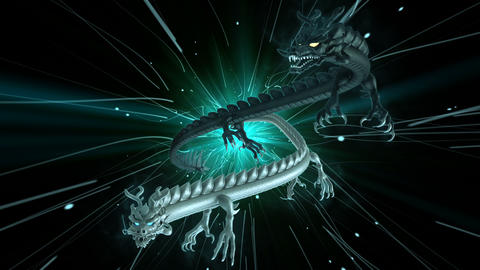 Flying Chinese Dragons VJ Loop Stock Video Footage