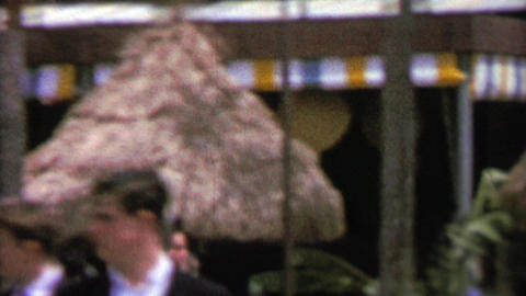 1964: Hawaii tiki grass roof huts at EXPO New York World's Fair Footage