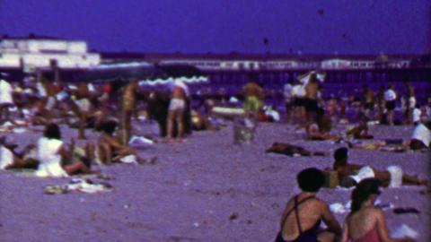 1965: Brighton beach coney island crowds hot summer day Footage