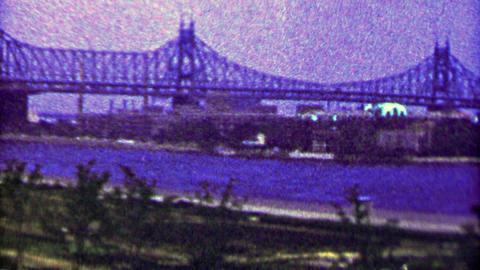 1965: Old Verrazano Narrows Bridge steel bridge river crossing Footage