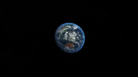 Zoom to earth in space. Fast flight to earth. Earth from Space Animation