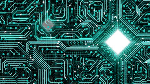 Data stream, transfer, communications. Abstract circuit board with chip Animation