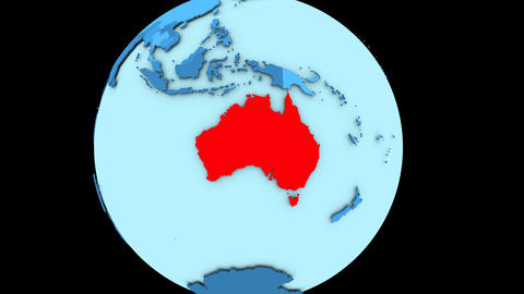 Australia on blue planet Animation