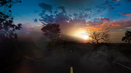 Road Passing Through The Forest With Colorful Sky At Sunset Photo