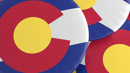 US State Buttons: Pile of Colorado Flag Badges, Focus And Zoom Out ビデオ