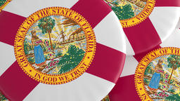 US State Buttons: Pile of Florida Flag Badges, Focus And Zoom Out Footage