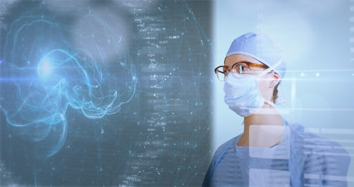 Female Surgeon Studying Data On A Futuristic Interface Live-Action
