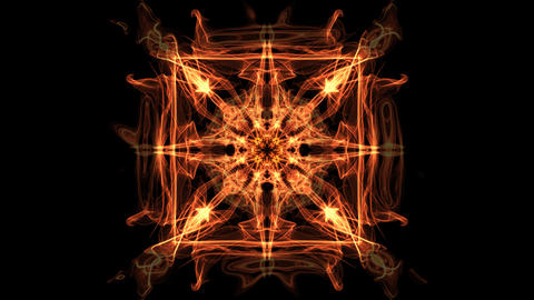 Fiery square fractal animated mandala, abstract video in orange, red and yellow Animation