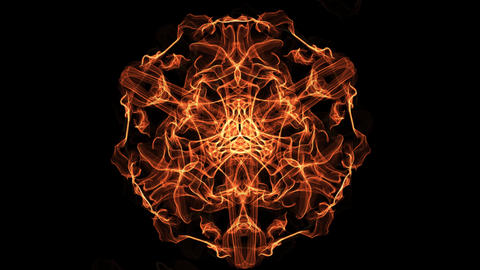 Fiery fractal animated mandala, abstract video in orange, red and yellow, nice Animation