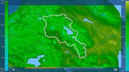 Armenia - average temperature, borders and cities Animation