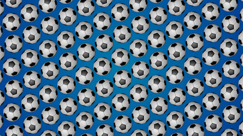 Football rolling balls for soccer blue background pattern Animation