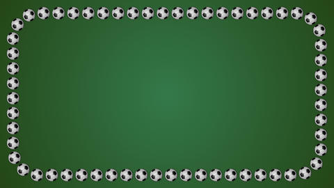 Football balls frame border screen soccer green background Animation