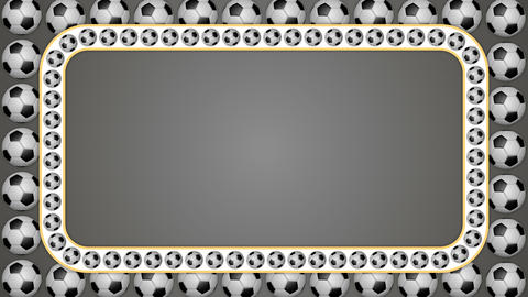 Football balls rolling frame border screen soccer gray background Animation