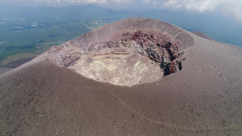 Aerial - Volcano caldera ( Mt. Asama in Japan ) GIF