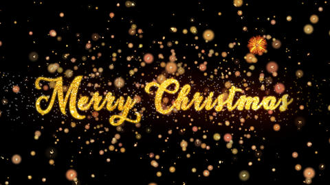 Merry Christmas Abstract particles and glitter fireworks greeting card text Animation