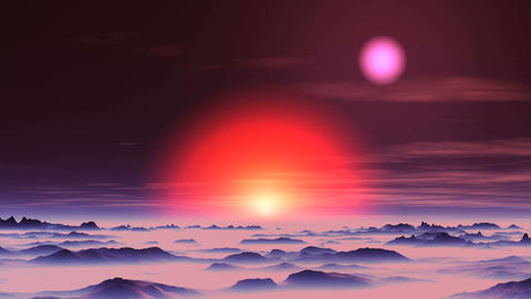 Sunset of Two Suns on Alien Planet Animation