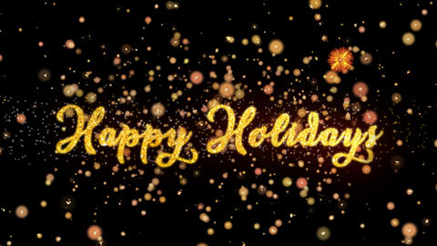 Happy Holidays Abstract particles and glitter fireworks greeting card text Animation