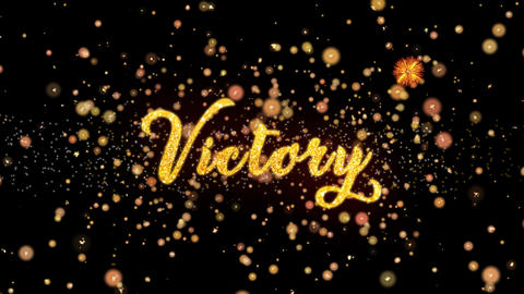 Victory Abstract particles and glitter fireworks greeting card text Animation