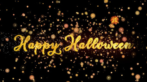 Happy Halloween Abstract particles and glitter fireworks greeting card text Animation