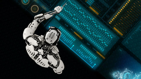 Robot android presses the keys on sci-fi screen. Realistic motion background. 4K GIF