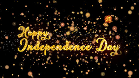 Happy Independence Day Abstract particles and glitter fireworks greeting card Animation