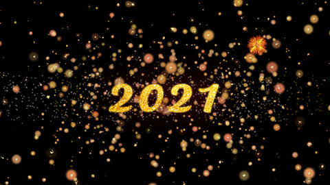 2021 Abstract particles and glitter fireworks greeting card text Animation