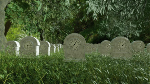 Time Life Clock Passing by in Cemetery Graveyard GIF