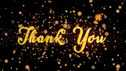 Thank You Abstract particles and glitter fireworks greeting card text Animation