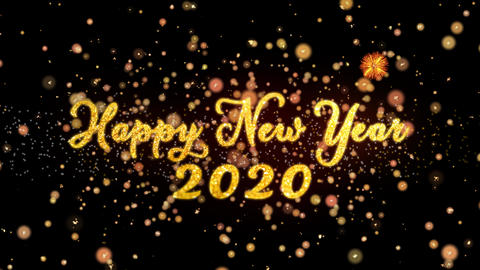 Happy New Year 2020 Abstract particles and glitter fireworks greeting card text Animation