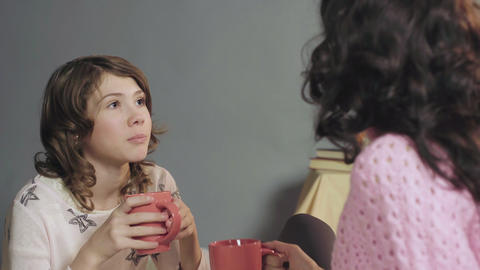 Wonderful family of mother and daughter spending evening in cozy atmosphere Footage