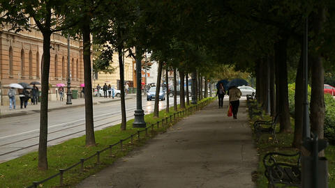 People with umbrellas walking in the street, rainy weather in Zagreb, city life Live Action