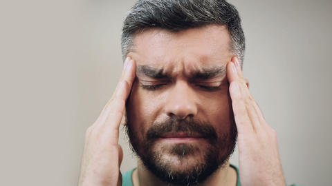 Man feeling severe headache caused by the migraine,... Stock Video Footage