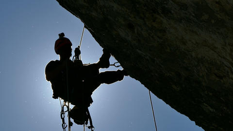 Silhouette of a Rock Climber Footage