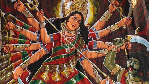 Durga Statue in exterior of Temple Footage