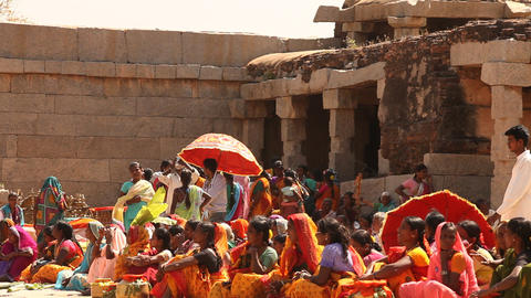 People in Vitala temple Hampi Karnataka India Footage