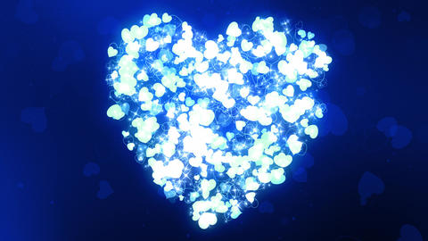 Glittering Wedding Hearts Blue Animation