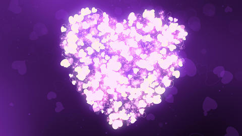 Glittering Wedding Hearts Purple Animation