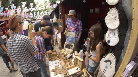 Handmade bazaar festival - selling souvenirs, miscellaneous stuff, ear-rings, Live Action