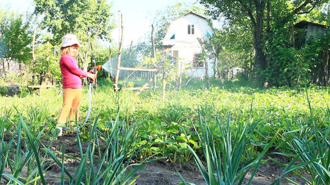 Little girl is watering garden and bed. Orchard irrigation Archivo