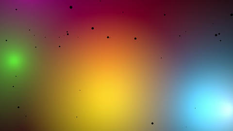 Colorful floating lights and black specs. 3d animation Stock Video Footage
