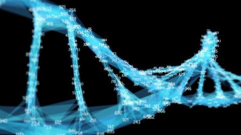 Digital Polygon Plexus DNA molecule random digits Loop Alpha Channel Animation