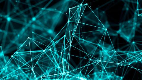 Flying through Digital Polygon Plexus Data Networks Animation